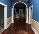 interior hallway with blue paint